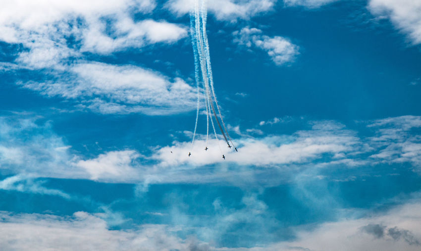Airshow in cloudy blue sky