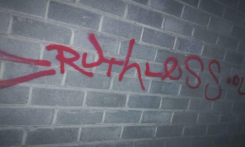 Ruthless Ruthless. Ruthless! Brickwalls Ruthlessbastard Tagging Tags Tagged Spray Paint Tagging It Up TaggedWalls Graffitivandals Graffiti & Streetart Red Spraypaint Brick Wall Graffiti Building Graffitivandal Graffitiwall Spraypaint Graffiti Graffitiporn Graffiti Wall Brick Walls Brickwall Graffiti Vandals