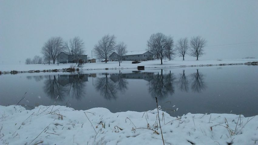 Outdoors Snow Water Reflection Winter Pond Reflections