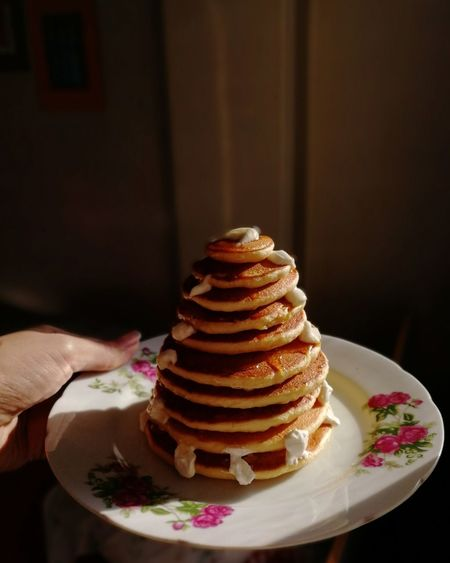 Stack of cake on plate