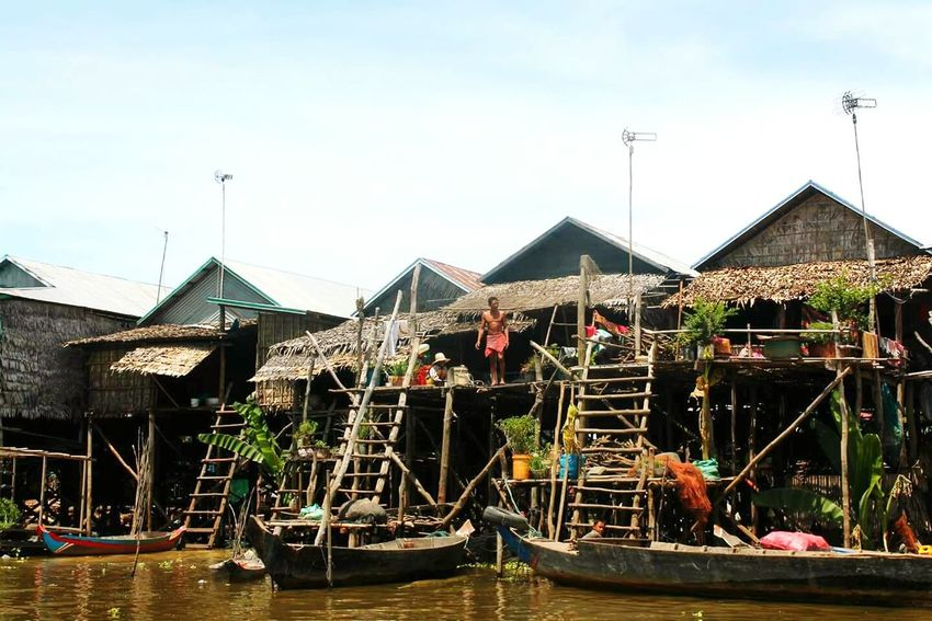 Travel Destinations Outdoors Built Structure Tree Architecture Day Sky Cambodia Tonle Sap Lake Tonlesap Floating On Water Floating Village Exploring ASIA