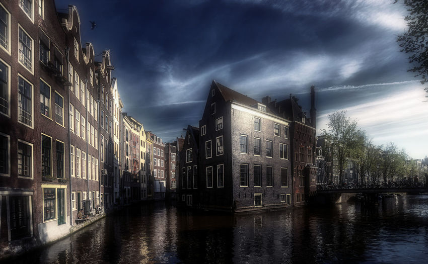 Building Exterior Architecture Built Structure Water Building Cloud - Sky Sky Waterfront City Nature Canal Residential District No People Reflection Dusk House Tree Amsterdam Dutch Remo SCarfo Holland