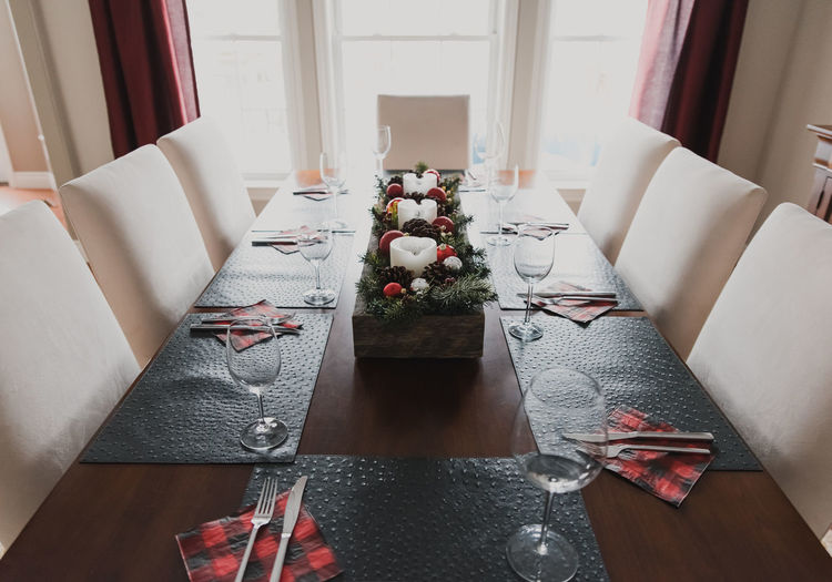 High angle view of christmas decorations on table at home