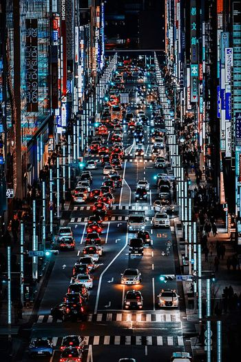Shiny Tokyo Japan Tokyo Transportation City Mode Of Transportation Car Land Vehicle Motor Vehicle Architecture Street Illuminated City Life City Street Road Night Traffic Building Exterior Built Structure No People Sign Travel High Angle View My Best Photo My Best Photo