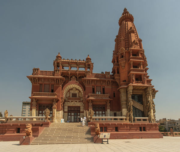 Exterior of temple against clear sky