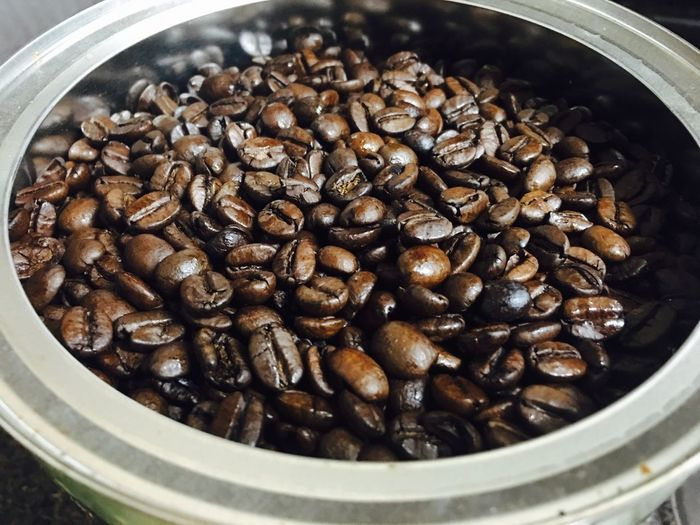 Close-up of coffee beans in container