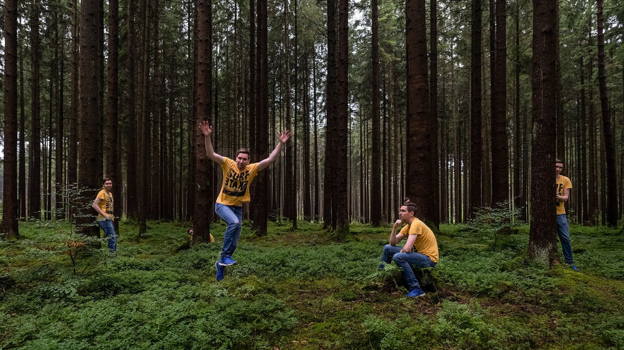 People playing in forest