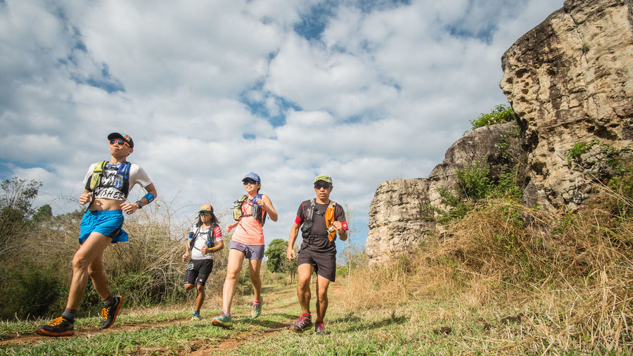 Action Sports Athlete Challenge Cloud - Sky Competition Determination Exercising Friendship Full Length Healthy Lifestyle Low Angle View Outdoors People Recreation  Recreational Pursuit Sport Sports Clothing Togetherness Trailrunning Ultramarathon Vitality Young Adult