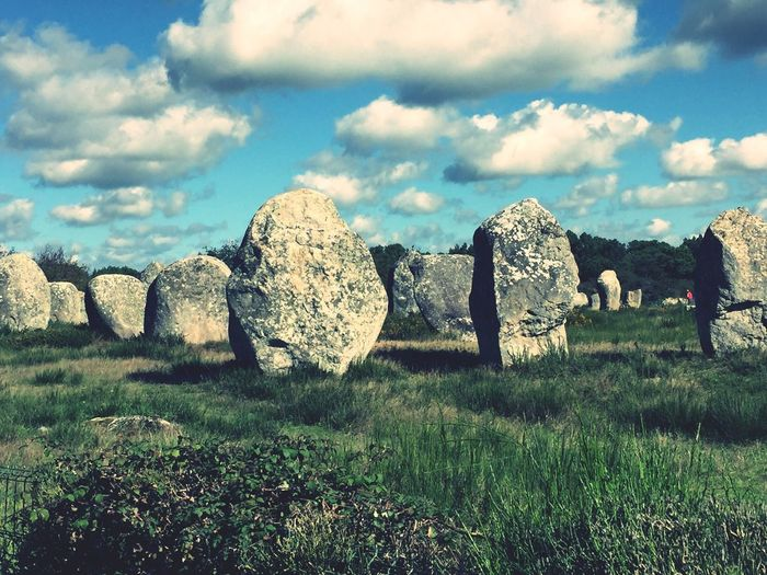 Menhire - stone heritage carnac Bretagne Stone Field Stones France Carnac Menhires Rock - Object Sky Grass Nature Cloud - Sky Tranquility Day Landscape No People Outdoors Beauty In Nature first eyeem photo