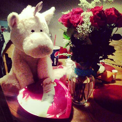wat i got for valentines day cc: <333! Valentines Day Chocolates Pink Roses Pink Unicorn <33
