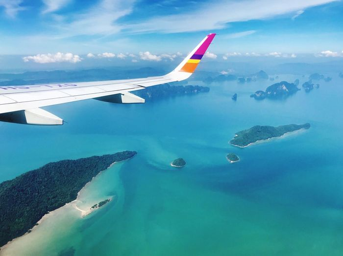 ThaiSmile Travel Aerial View Flying Aircraft Wing Airplane Wing Sea Nature Mode Of Transport No People Sky Air Vehicle Water Transportation Airplane Thailand Island
