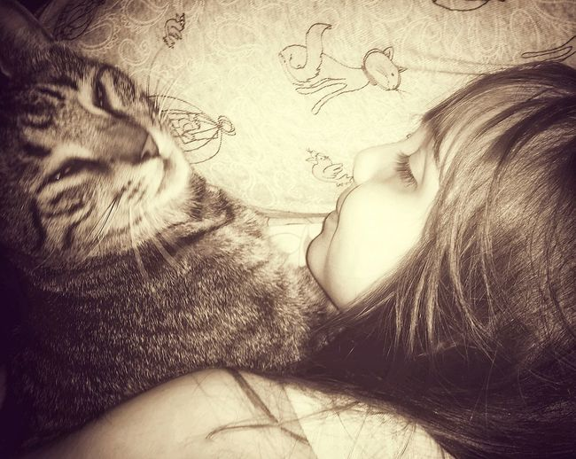 pure sweetness 🌸 Kids Of EyeEm Cats Of EyeEm Kitty Hug Sleep Laying Down Cuddles Cat Girl Smile Profile Happy Happy People Love Sweet Face Sepia Bnw Tones Monochrome Poster Tenderness Cute Content Beauty Backgrounds Close-up Pretty I Love You