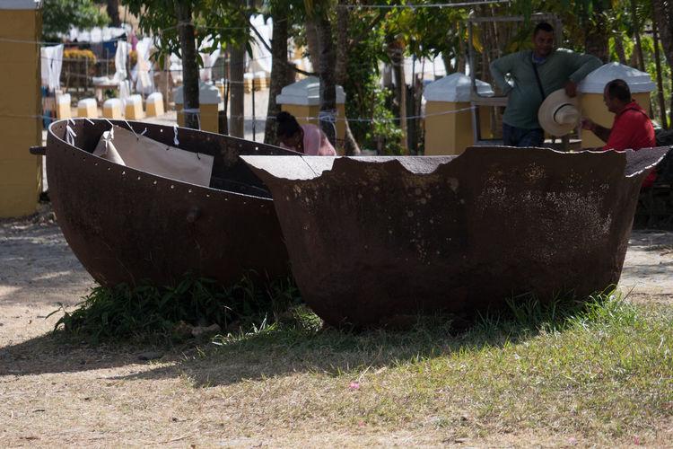 Old kettles for making sugar Cuba Cuba Collection Day History Kettles No People Outdoors Sugar Mill Trinidad, Cuba