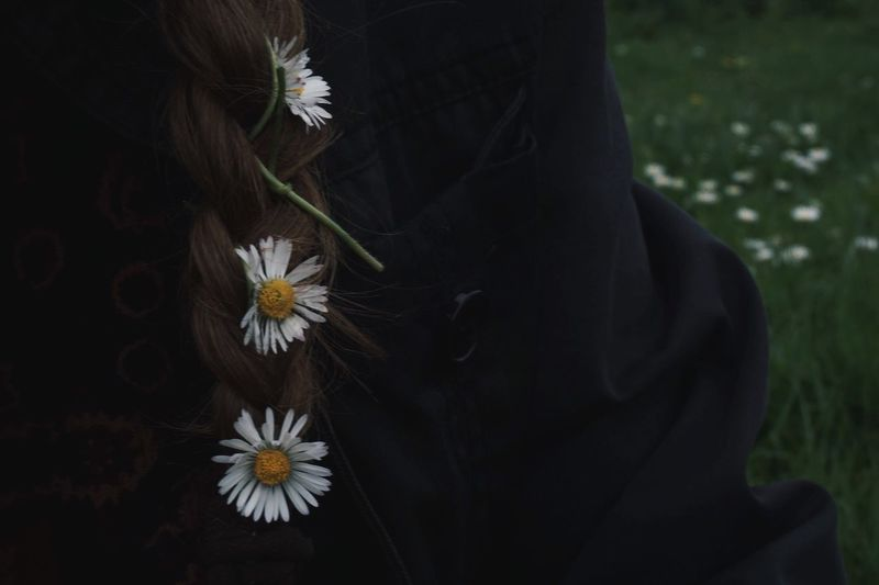 Flower Flowering Plant Plant One Person Midsection Real People Lifestyles Leisure Activity Adult Day Human Body Part Women Focus On Foreground Close-up Fragility Nature Flower Head Vulnerability  Human Hair Hair