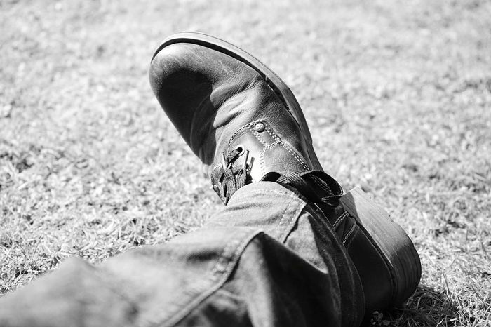 Shoes Human Body Part One Person Adult People Day Close-up Nature Grey Meadow Outdoor Sunshine Leather Black And White Monochrome Scenics Background Relaxing Enjoying The Sun Jeans Chillout Have A Break