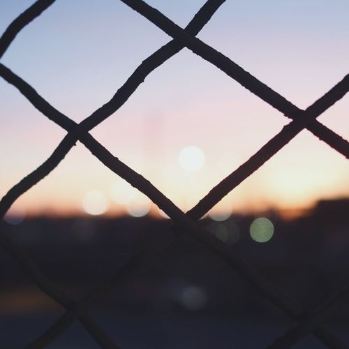 Foreground Lights Detroit City Urban Sky Fence Sunset Dusk Outdoors Close-up Silhouette First Eyeem Photo