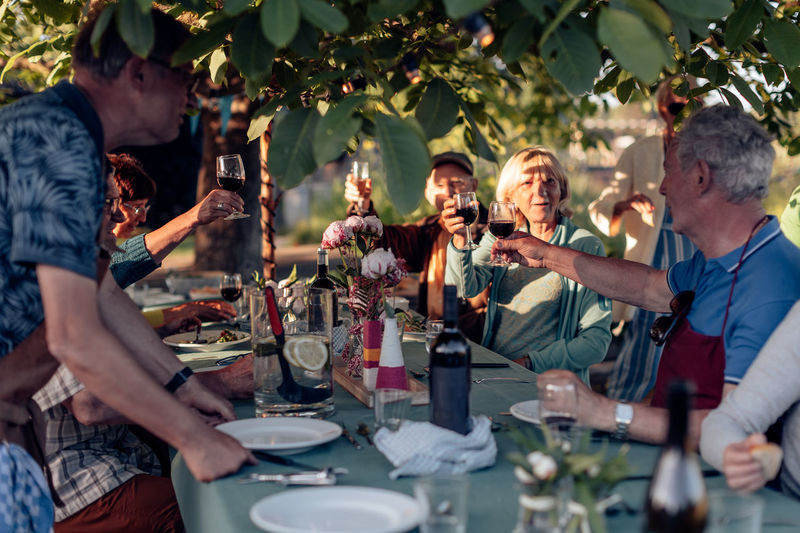 Senior people toasting sitting at table in the backyard - old friends having fun in real life