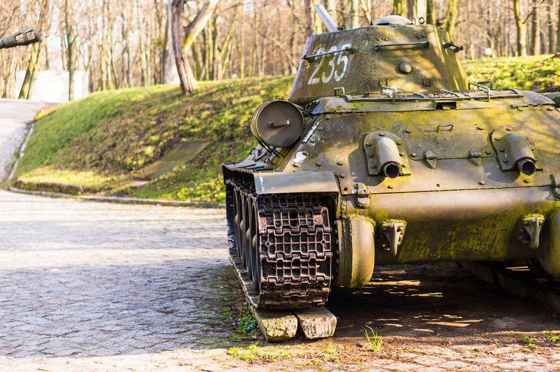 Abandoned tank on field