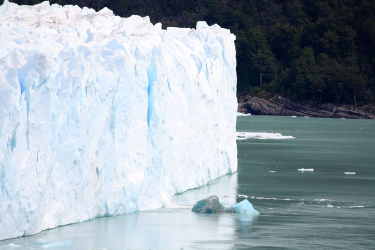 Ice floating on the sea near a glacier
