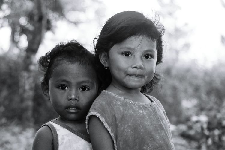 Sister and Brother Childhood Child Looking At Camera Two People Children Only Portrait Boys Togetherness Elementary Age Day People Girls Males  Bonding Close-up Twin Friendship Sky Adult Sister Brother Brother & Sister Black And White Potrait Black And White Friday