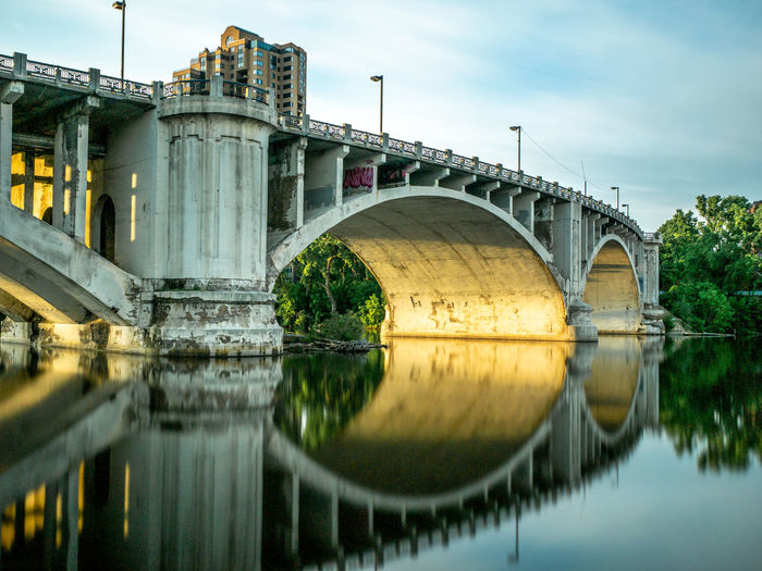 Bridge Water Built Structure Connection Reflection Architecture Bridge - Man Made Structure River Nature Transportation Waterfront Arch No People Arch Bridge Building Exterior Arched Sky Reflection Golden Hour