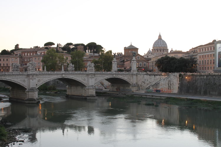 Arch Architecture Bridge - Man Made Structure Building Exterior Built Structure City Clear Sky Connection Day Frainf Italy No People Outdoors Reflection Rome Sky Tevere River Travel Destinations Tree Water