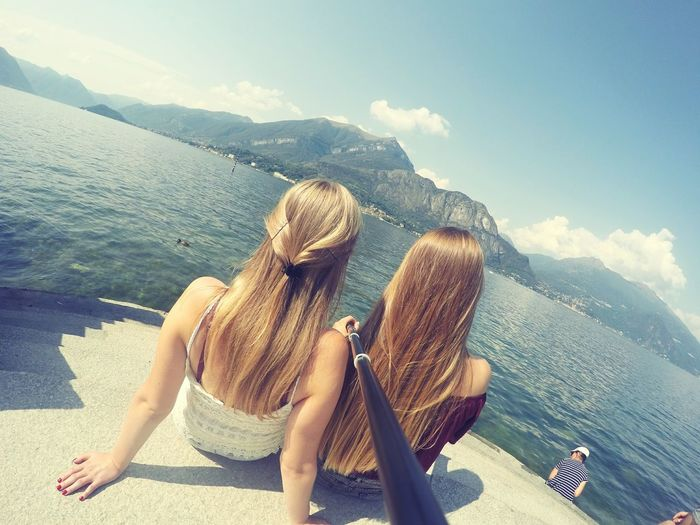 Mountains Sea Water Sky Summer Vacations Women Longhair Sisters Italy Photos Italianeography Sun Sunday Gopro Goprohero4