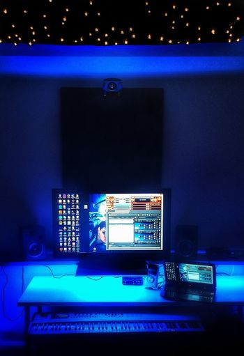 Home Office Indoors  Technology No People Futuristic Dots Of Light Innovation Illuminated Recording Studio Home Office Led Lights  Star Ceiling Blue Keyboard Computer Keyboard Instrument My Point Of View My Second Home