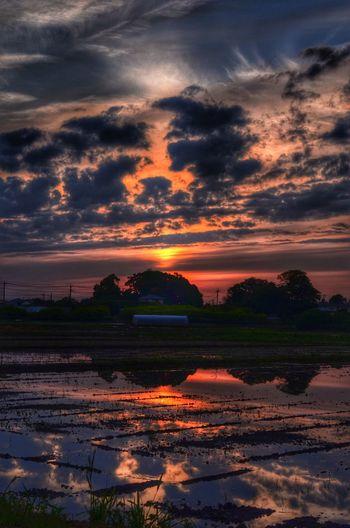 どうにか夕陽出たね HDR 夕陽 Sunset Clouds