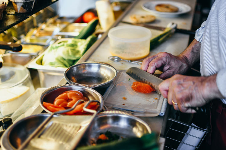 Bagel Food And Drink Food Preparation  Occupation Men Real People Hand Freshness One Person Kitchen Business Household Equipment Midsection Human Hand Preparing Food Indoors  Holding Healthy Eating Domestic Room Chef