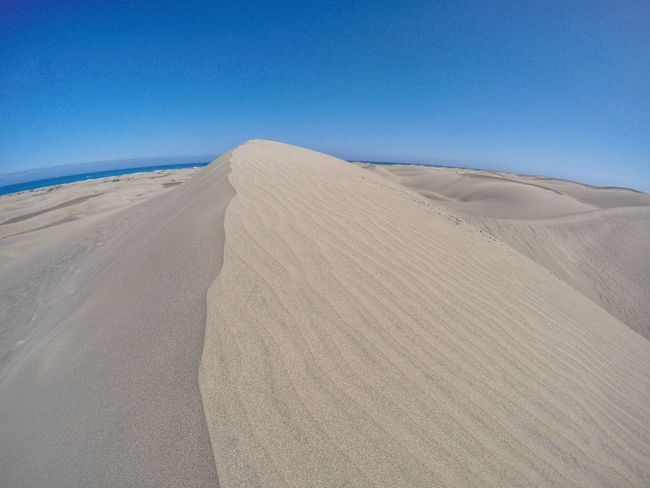 Sand dunes, Maspalomas, Gran Canaria. Travel Goprohero4 SPAIN GranCanaria Maspalomas Blue Sky Beach Sand Dunes