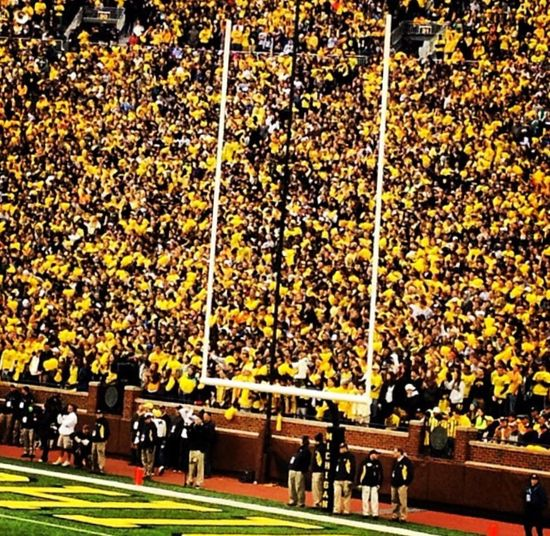Maize Out... #universityofmichigan NCAA Big 10 Football Maize University Of Michigan Michigan Wolverines Large Group Of People Real People Men Leisure Activity Day Crowd Lifestyles