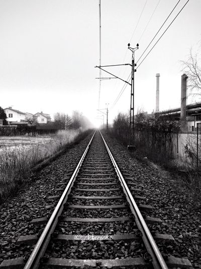 Gothenburg Bnw Sweden Clarity X Love Bnw Photo Iphonephotography IPhone Photography Iphone5s Iphoneonly Bnw Sunday Enjoying Life Sweden Bnw Train Tracks Foggy Tracks Foggymorning Taking Photos Check This Out No People Enjoy The View