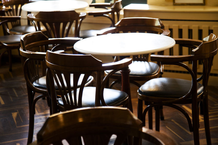 Absence Arrangement Brown Business Cafe Cafeteria Chair Empty Focus On Foreground Food And Drink Furniture In A Row Indoors  No People Order Restaurant Seat Still Life Table Vienna Chairs Wood - Material