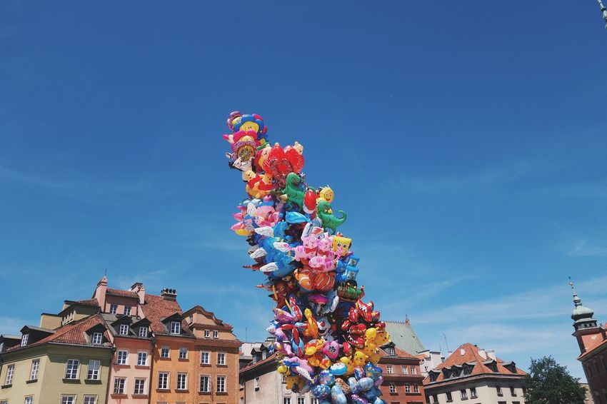Multi Colored Low Angle View Architecture Day No People Blue Outdoors Sky Plac Zamkowy Warsaw Balloons Building Exterior