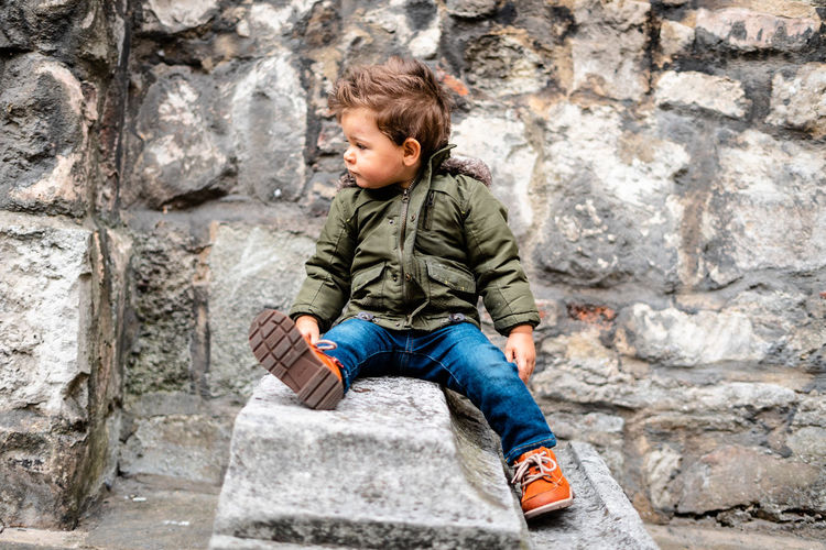 Baby day out Childhood Child Casual Clothing Males  Boys Men Innocence Outdoors One Person Kids Model Kids Toddler  Toddlerlife Two Years Old Baby Day Out Clothing Baby Clothing Toddler Model Wall Stone Wall Jeans Full Length