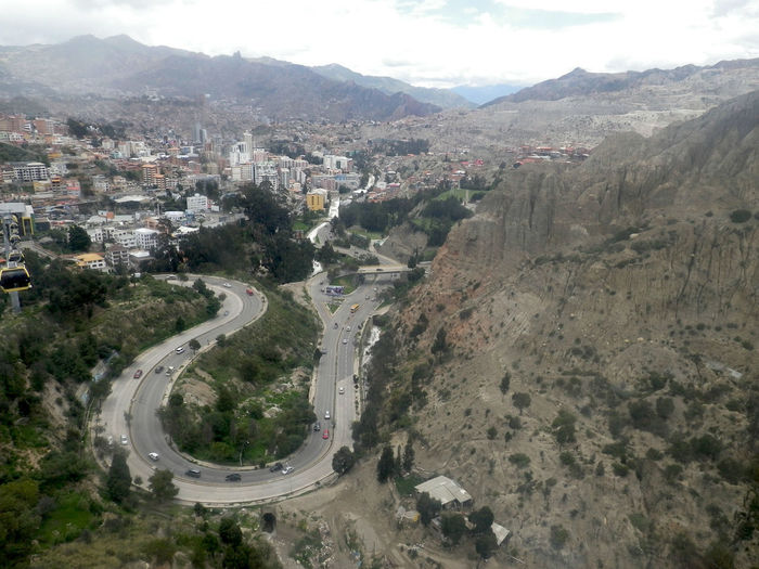 Winding road in La Paz, Bolivia. La Paz, Bolivia Architecture Car Day High Angle View Landscape Mountain Nature No People Outdoors Road Sky Transportation Tree