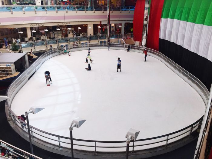 High angle view of people in snow
