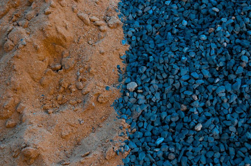 High angle view of gravel with sand