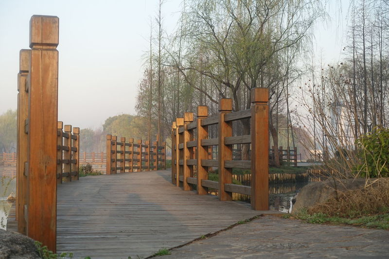 Wooden Bridge Wooden Rail Architecture Day Future Future Vision No People Outdoors Wood - Material Wooden Pathway Wooden Railing