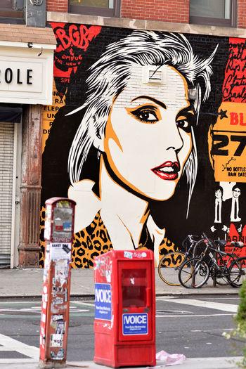 Manhattan, NY, USA. Artist: OBEY/Shepard Fairey. Debbie Harry of Blondie on a Blondie Debbie Harry Graffiti Manhattan NYC NYC Photography New York City Nyc Street Art OBEY Shepard Fairey Mural Painting Street Art