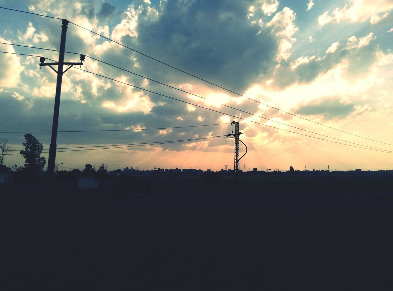 cable, electricity, silhouette, power line, connection, sky, power supply, sunset, electricity pylon, cloud - sky, technology, fuel and power generation, no people, nature, outdoors, day