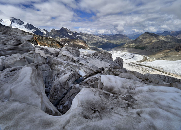 Scenic view of glacier and snowcapped mountains  against sky