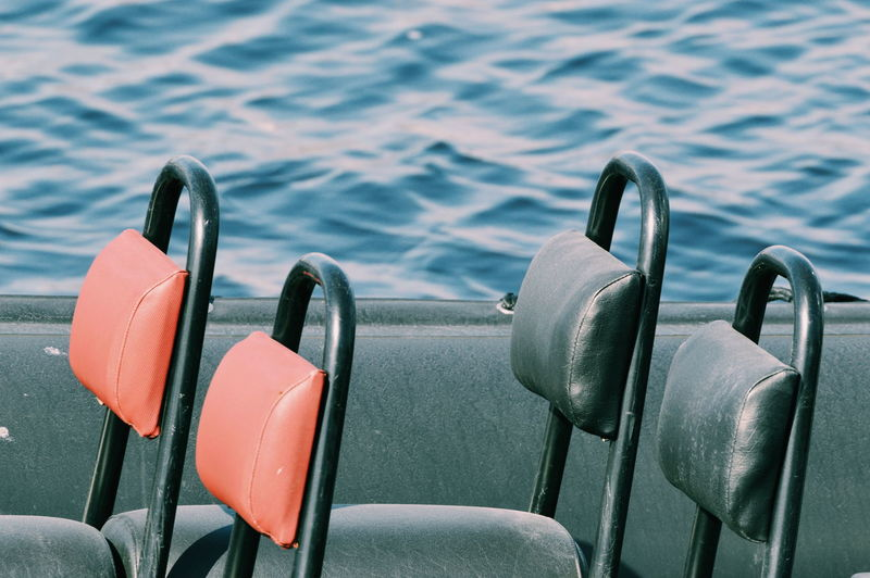 Close-up of empty seats in sea