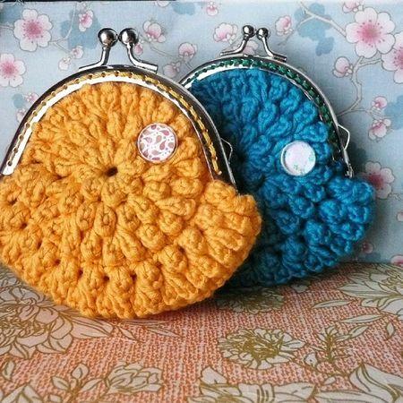 Haciendo Monederos a tope!! Monedero Crochet Lana Algodón Handmadewithlove Handmade Coinpurse Ganchillo Yellow Blue Retro Vintage