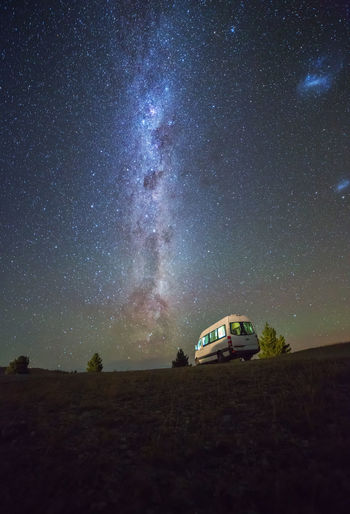 Van Against Starry Sky At Night