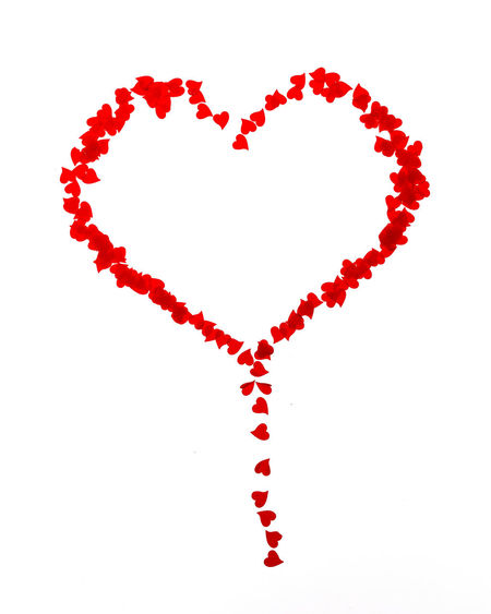 Small hearts background Red No People White Background Studio Shot Copy Space Heart Heart Shape Vilentinesday. Love Background Small Hearts Confetti Minimalistic
