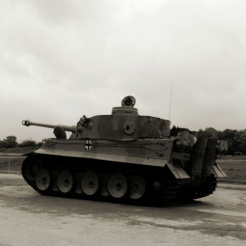 A Black And White Photography of a German Tiger Tank featuring Military Day History War Outdoors No People Water Weapon Sky Daytime Tank Museum Museum Tank Mode Of Transport Last Working Last Working Tiger Tank