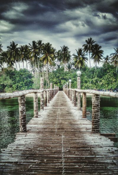 Beauty Beneath a Dark Sky♥ No People Outdoors Sea Beach Trees Trees And Sky Trees And Nature Trees And Water Mobile Photography Walkway Wood Walkway Bridge Perspectives On Nature