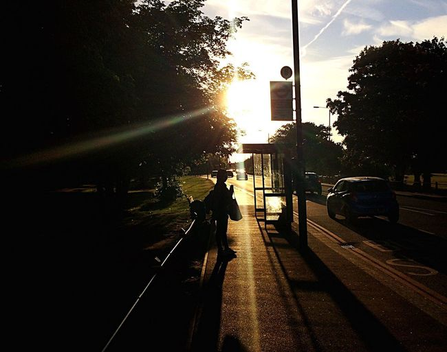 Bus Stop Transportation Car Street Land Vehicle Road Mode Of Transport Tree Silhouette City Sunlight People Adult Outdoors Sunset Full Length Sky Men Architecture Day One Person EyeEm LOST IN London